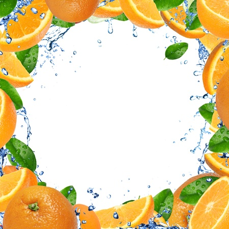 Fresh oranges with splashing water  photo