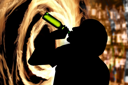 woebegone: Drinking man silhouette Stock Photo
