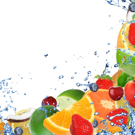water feature: Fresh healthy fruit background with splashing water