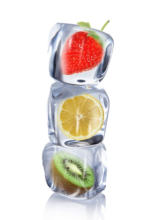 Fruit in Ice cubes over white