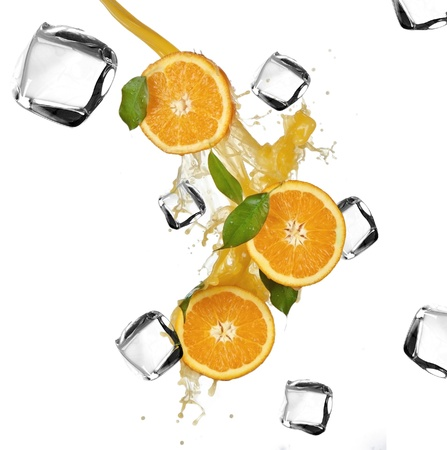 Oranges with Ice cubes over white  photo