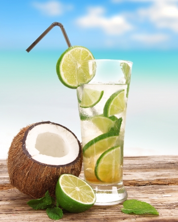 Mojito cocktail on the beach photo