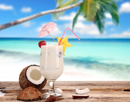 coconut drink: Fruit cocktail on the beach