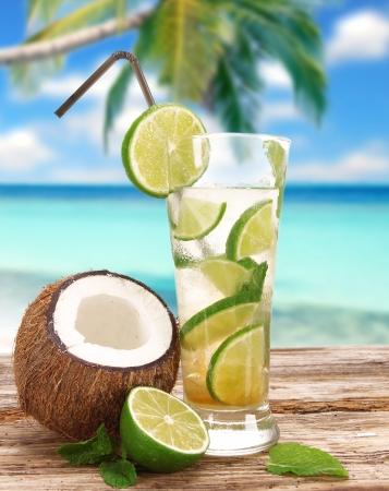 coconut sugar: Mojito cocktail on the beach
