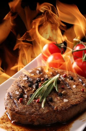 bbq grill: Grilled Beef Steak with flames