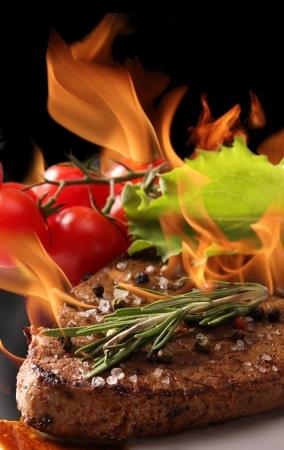 sirloin steak: Grilled Beef Steak with flames