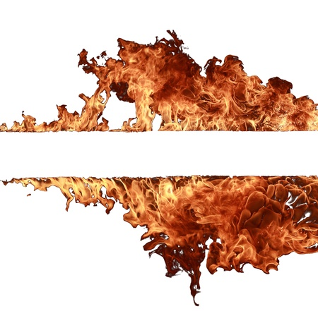 wild fire: Fire flames collection on white