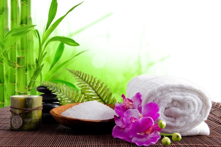 Spa treatment with bamboo background  photo