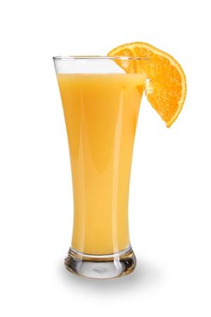 verre de jus d orange: Verre de jus d'orange sur fond blanc