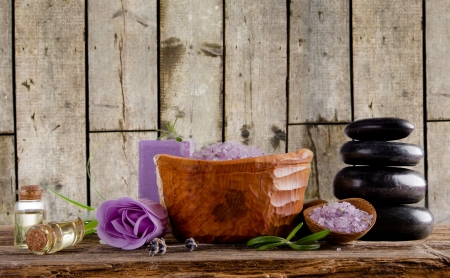 Spa treatment with wooden background photo