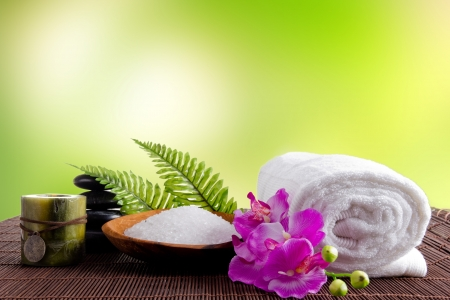 candles spa: Spa treatment with bamboo background