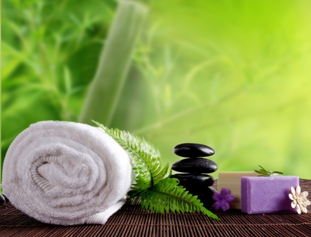 spa still life: Spa treatment with bamboo background