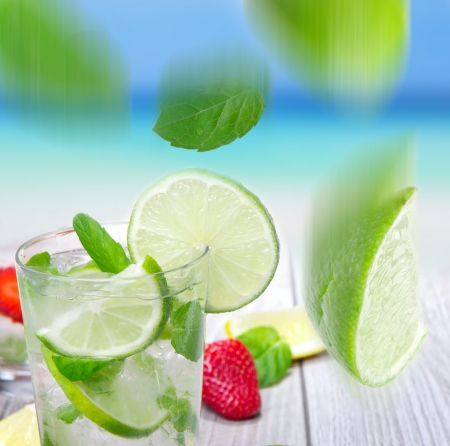 Mojito cocktail with beach background  Stock Photo