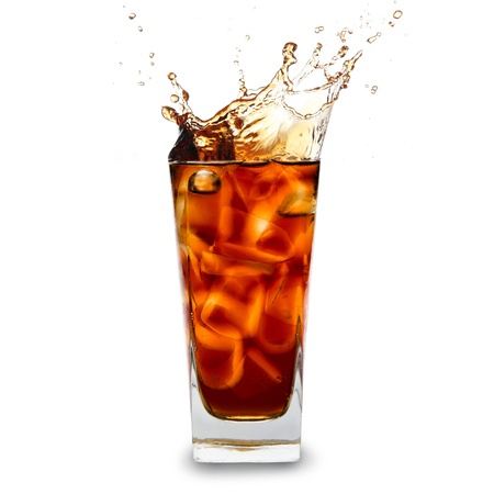 soda splash: Cola glass with ice cubes over white