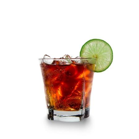 Cola glas op witte achtergrond Stockfoto