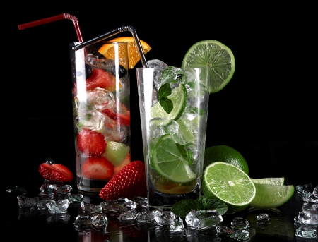 Fresh mojito drinks over black  photo