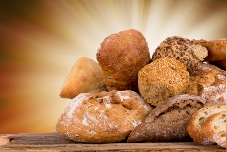 yeast: assortment of baked bread  Stock Photo