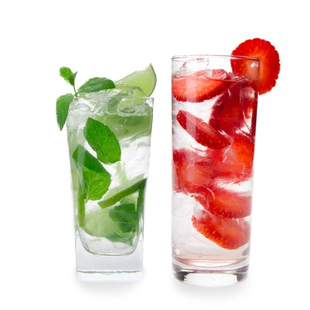 mohito: Mojito and Strawberry cocktail over white background