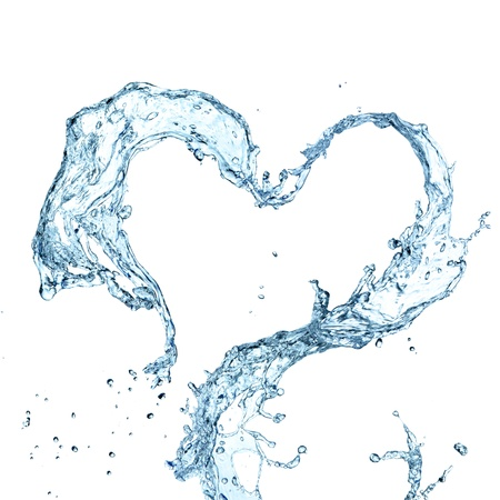 Water splash heart over white background  photo