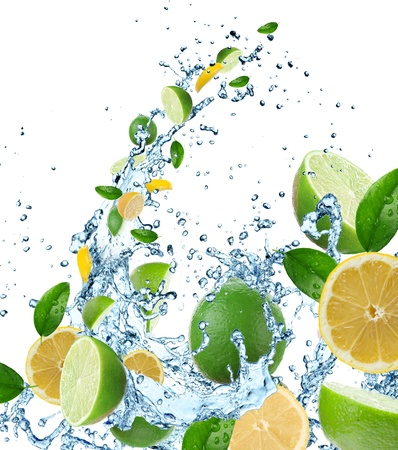 lime green background: Fresh citruses in water splash  Stock Photo