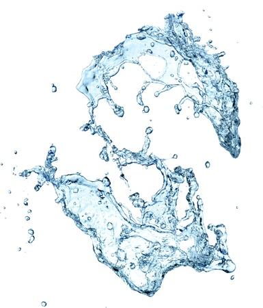 puro: Chapoteo del agua aislado en el fondo blanco Foto de archivo