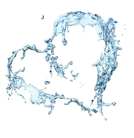 Water heart over white background  photo