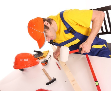 Worker man over white background  Stock Photo