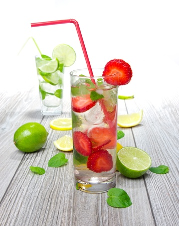 Fresh strawberry mojito drinks photo