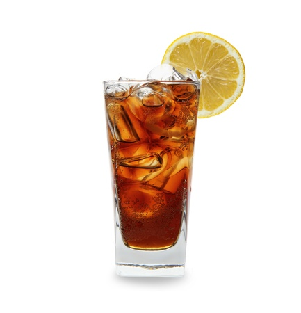 soft drink: Cola glass with ice cubes over white
