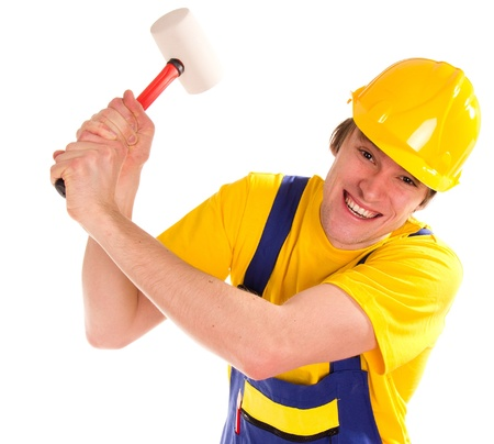 Worker man over white background  Stock Photo - 14797957