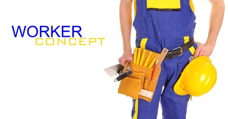 protective workwear: Worker man over white background  Stock Photo