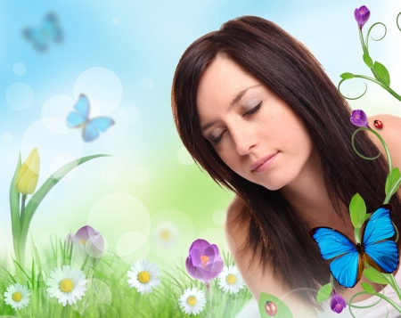 Floral design with beautiful brunette girl  photo
