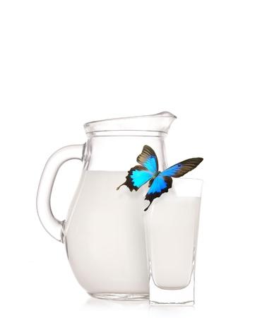 ingredients tap: Milk jug over white background  Stock Photo