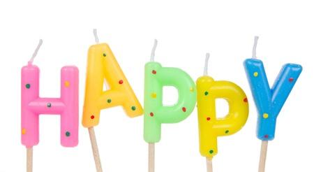 velitas de cumpleaños: Conjunto de velas de cumpleaños de colores aislados sobre fondo blanco Foto de archivo
