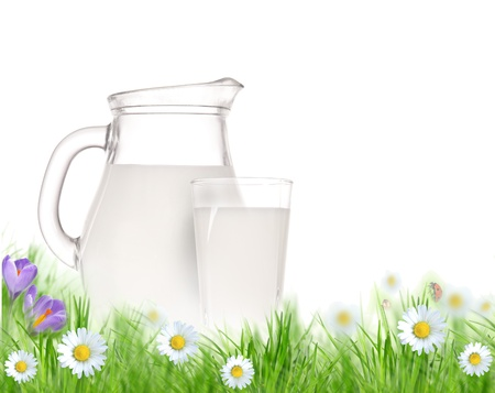 Milk jug and glass on the grass with chamomiles flowers over white  photo