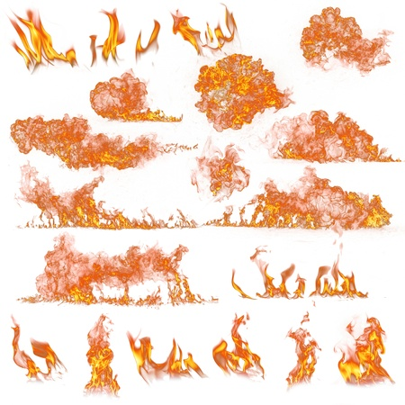 engulfed: Fire flames collection on white