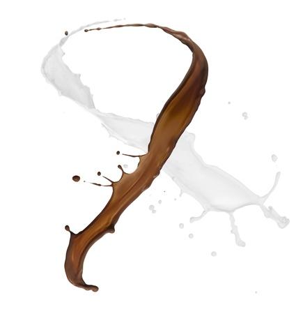 Chocolate and milk splash on white background  版權商用圖片