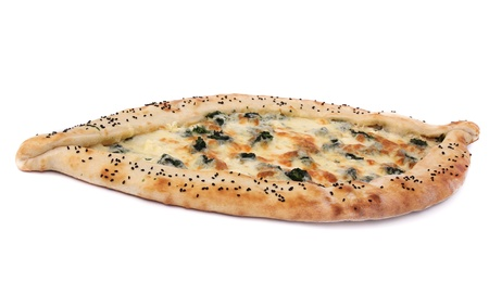 turkish bread: Turkish pizza over white