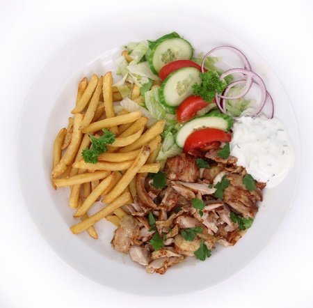 Gyros with french fries and vegetable