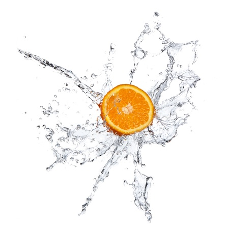 soda splash: Orange splashing isolated on white  Stock Photo