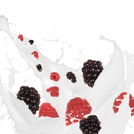 refrigerant: berries in cream splash over white background