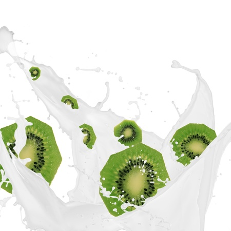 refrigerant: kiwi in cream splash over white background  Stock Photo