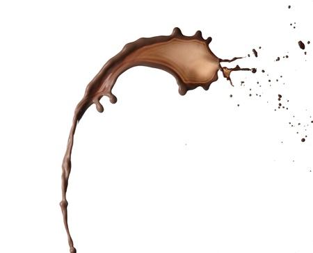 chocolate drop: Chocolate splash on white background