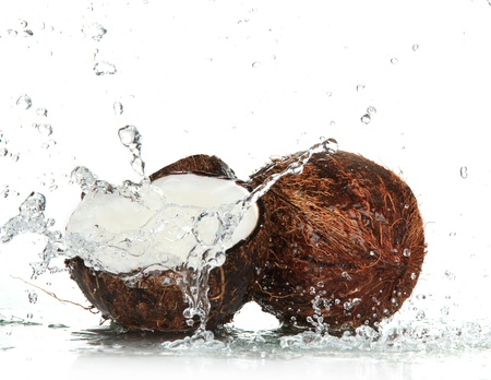 water spray: cracked coconut with splashing water
