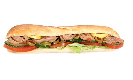 turkish kebab: Tasty french tuna baguette