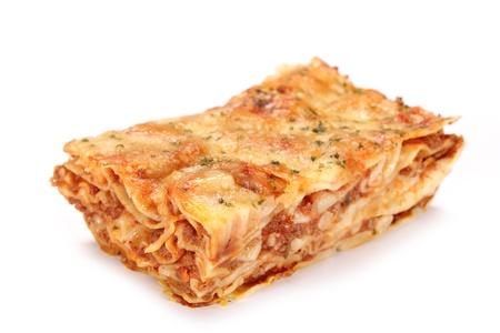 Tasty lasagne over white  photo