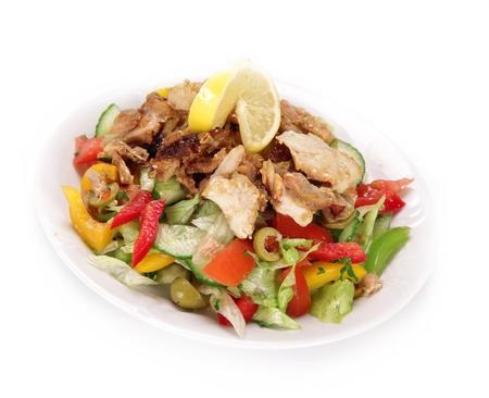 gyros: Fresh greek gyros salad over white