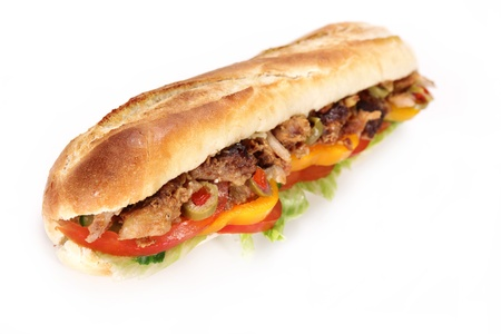 chicken sandwich: Tasty gyros baguette  Stock Photo