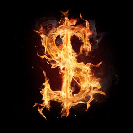 dolar: Alfabeto Fuego s�mbolo dolar Foto de archivo