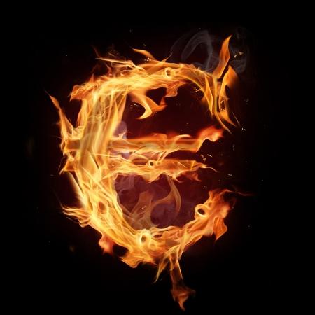 burns night: Fire alphabet Euro symbol Stock Photo